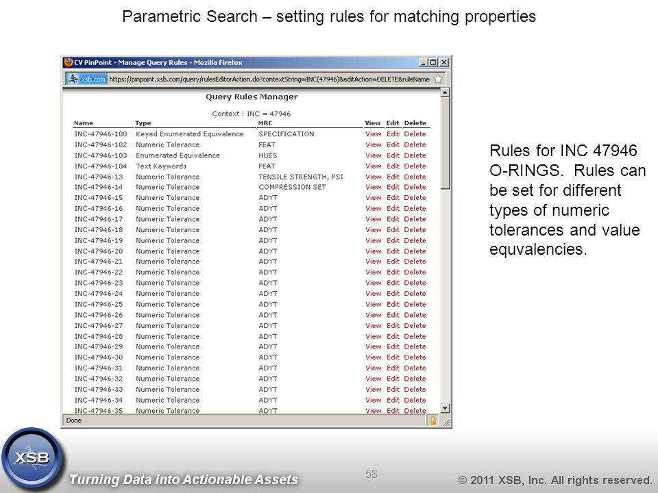 Parametric Search – setting rules for matching properties Rules for INC 47946 O-RINGS.