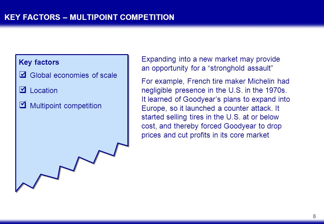 8 KEY FACTORS – MULTIPOINT COMPETITION Key factors  Global economies of scale  Location  Multipoint competition Expanding into a new market may pro