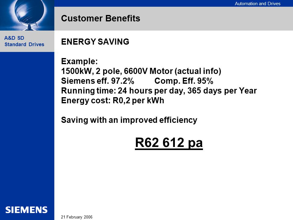 Automation and Drives 21 February 2006 A&D SD Standard Drives Customer Benefits ENERGY SAVING Example: 1500kW, 2 pole, 6600V Motor (actual info) Sieme
