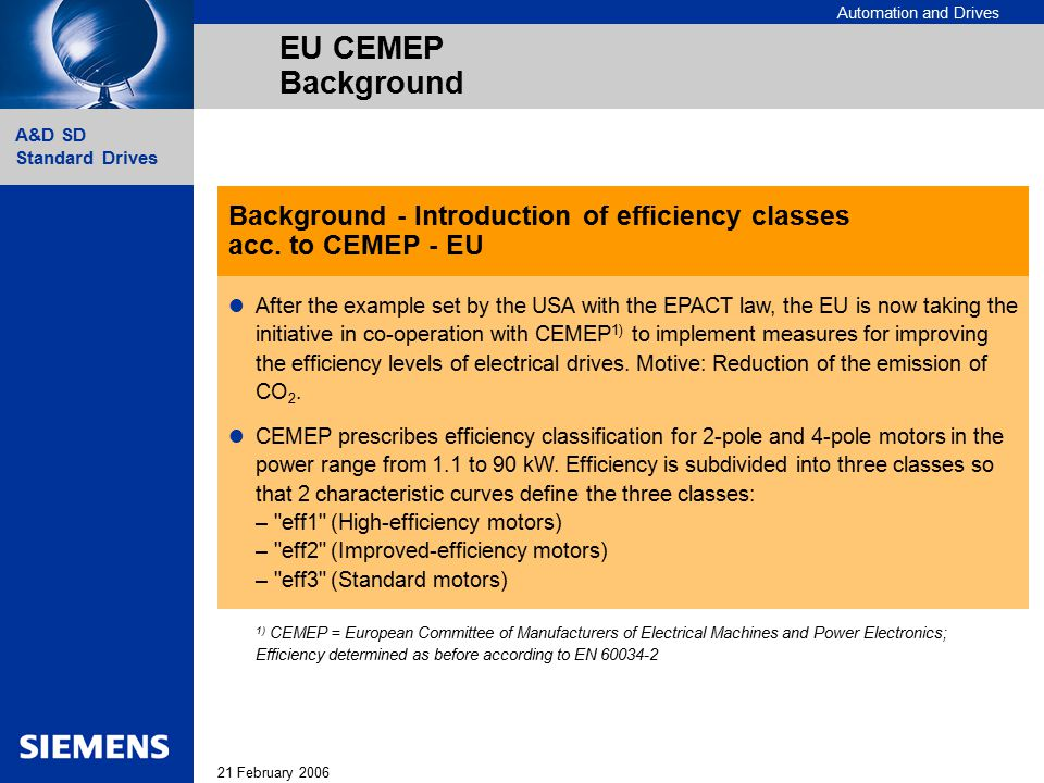 Automation and Drives 21 February 2006 A&D SD Standard Drives EU CEMEP Background Background - Introduction of efficiency classes acc. to CEMEP - EU A
