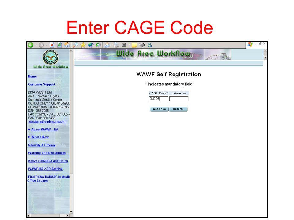Enter CAGE Code 5.5.