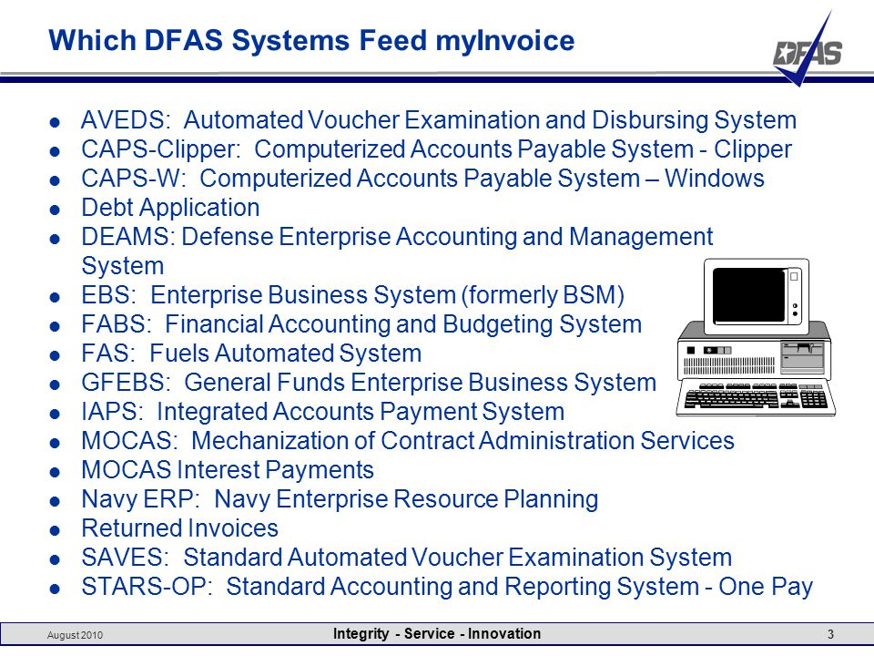 August 2010 Integrity - Service - Innovation 3 Which DFAS Systems Feed myInvoice AVEDS: Automated Voucher Examination and Disbursing System CAPS-Clipper: Computerized Accounts Payable System - Clipper CAPS-W: Computerized Accounts Payable System – Windows Debt Application DEAMS: Defense Enterprise Accounting and Management System EBS: Enterprise Business System (formerly BSM) FABS: Financial Accounting and Budgeting System FAS: Fuels Automated System GFEBS: General Funds Enterprise Business System IAPS: Integrated Accounts Payment System MOCAS: Mechanization of Contract Administration Services MOCAS Interest Payments Navy ERP: Navy Enterprise Resource Planning Returned Invoices SAVES: Standard Automated Voucher Examination System STARS-OP: Standard Accounting and Reporting System - One Pay