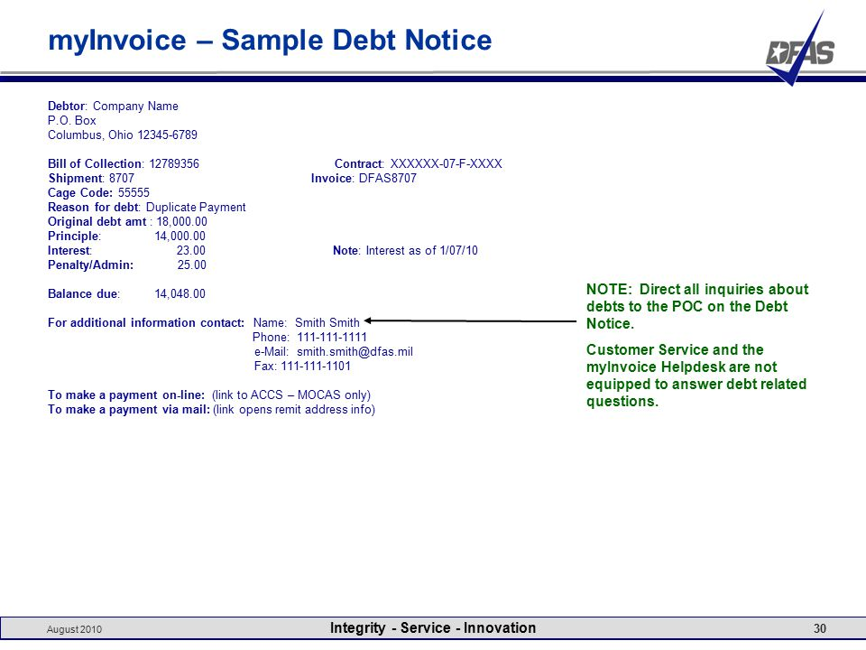 August 2010 Integrity - Service - Innovation 30 myInvoice – Sample Debt Notice Debtor: Company Name P.O.