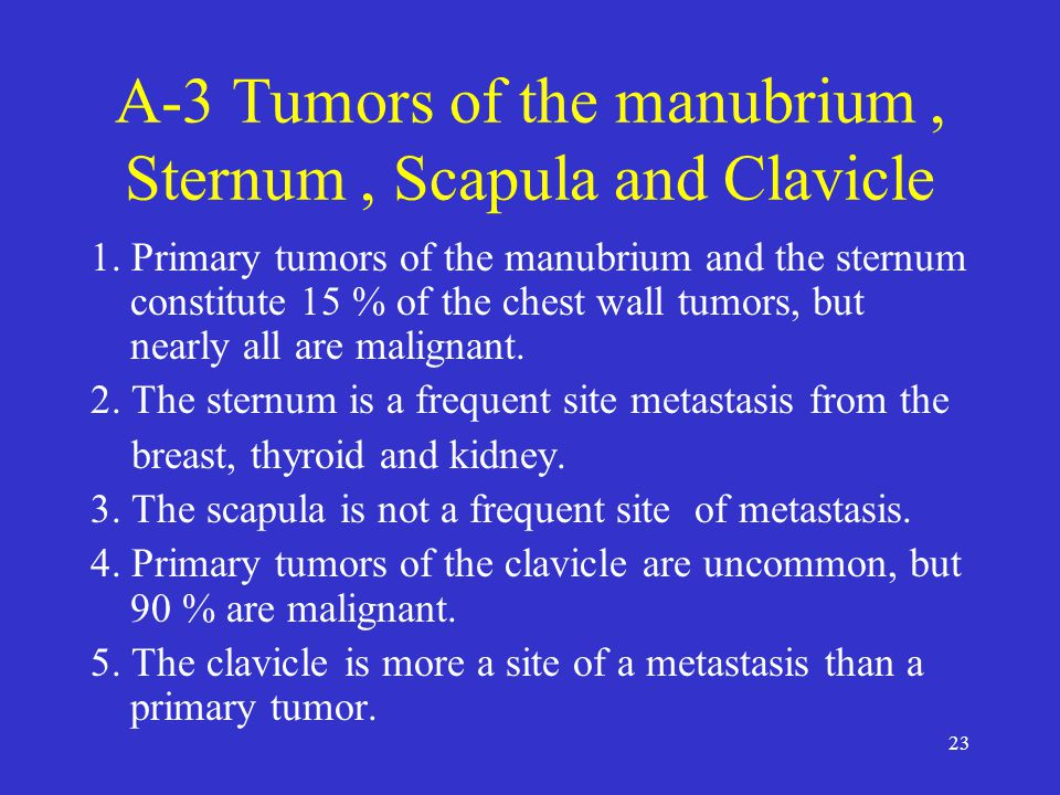23 A-3 Tumors of the manubrium, Sternum, Scapula and Clavicle 1.