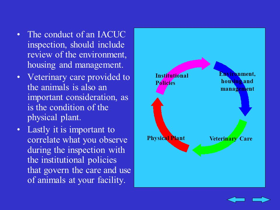 Environment, housing and management Veterinary Care Physical Plant Institutional Policies The conduct of an IACUC inspection, should include review of the environment, housing and management.