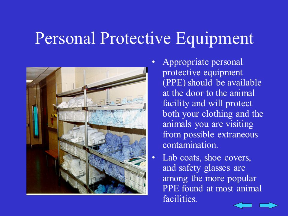 Personal Protective Equipment Appropriate personal protective equipment (PPE) should be available at the door to the animal facility and will protect both your clothing and the animals you are visiting from possible extraneous contamination.