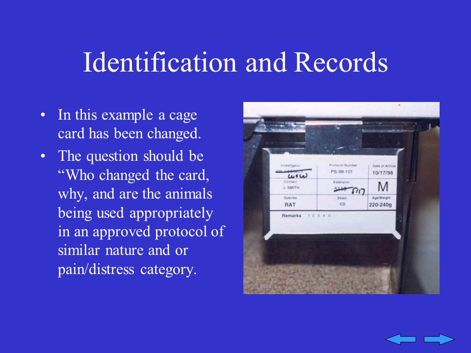 Identification and Records In this example a cage card has been changed.