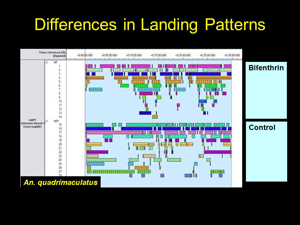 Preliminary Conclusions There appear to be differences in landing, alighting, and resting behaviors between: –all three species studied –different pyrethroid insecticides Different behavioral responses may influence which insecticides are best utilized for barrier or residual wall treatments (facultative landing), as compared to bednet treatments (attractant) Analysis of data continues