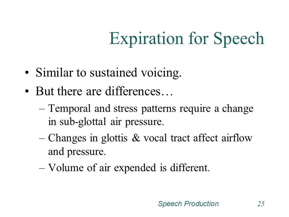 Speech Production24 Expiration for Sustained Voicing (continued)