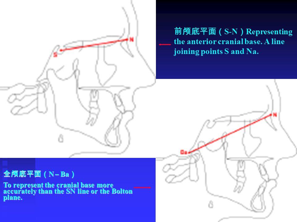 全颅底平面( N – Ba ) To represent the cranial base more accurately than the SN line or the Bolton plane. 前颅底平面( S-N ) Representing the anterior cranial bas
