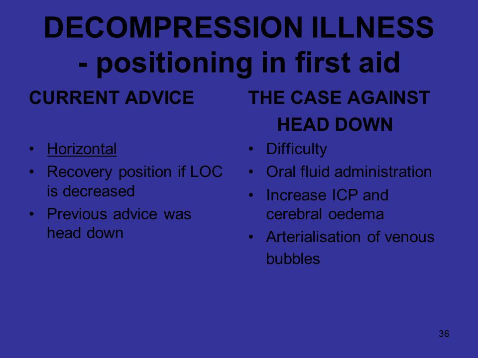 36 DECOMPRESSION ILLNESS - positioning in first aid CURRENT ADVICE Horizontal Recovery position if LOC is decreased Previous advice was head down THE CASE AGAINST HEAD DOWN Difficulty Oral fluid administration Increase ICP and cerebral oedema Arterialisation of venous bubbles