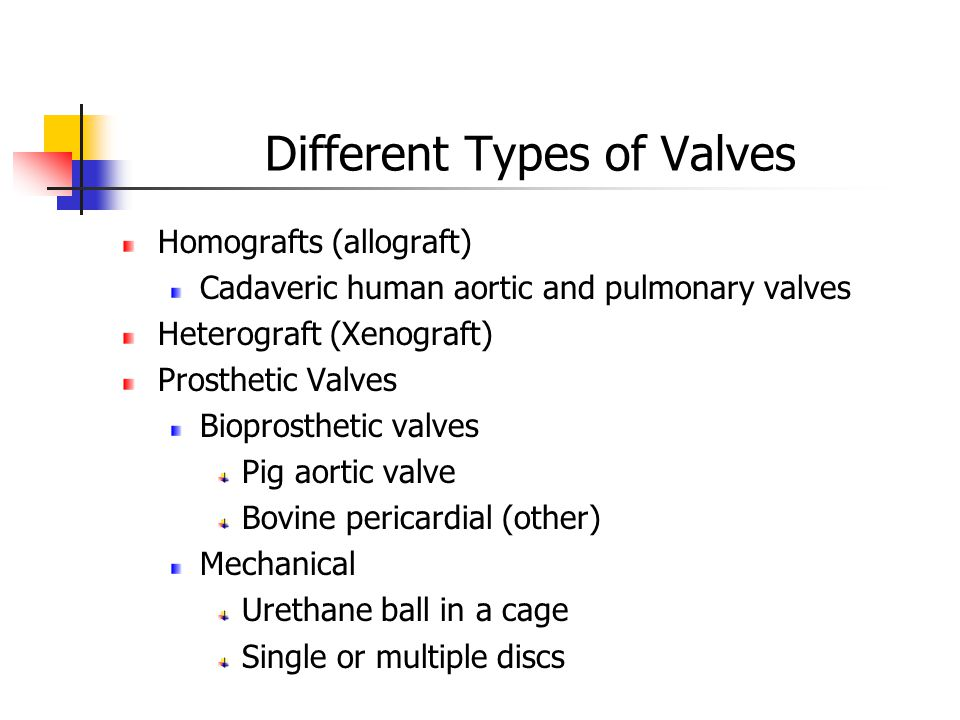 Different Types of Valves Homografts (allograft) Cadaveric human aortic and pulmonary valves Heterograft (Xenograft) Prosthetic Valves Bioprosthetic valves Pig aortic valve Bovine pericardial (other) Mechanical Urethane ball in a cage Single or multiple discs