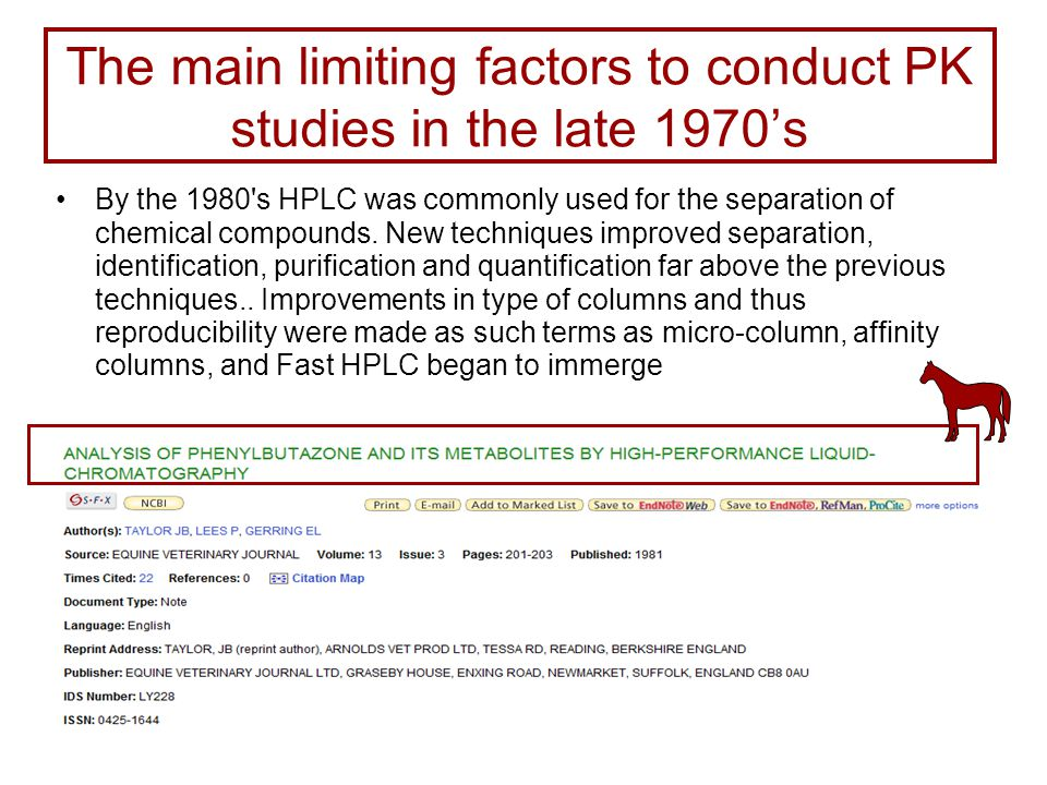 The main limiting factors to conduct PK studies in the late 1970's By the 1980 s HPLC was commonly used for the separation of chemical compounds.