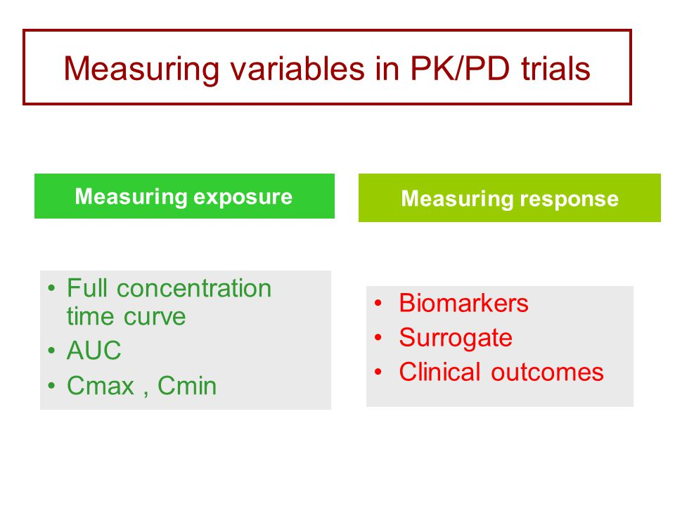 Measuring response Measuring exposure Measuring variables in PK/PD trials Full concentration time curve AUC Cmax, Cmin Biomarkers Surrogate Clinical outcomes