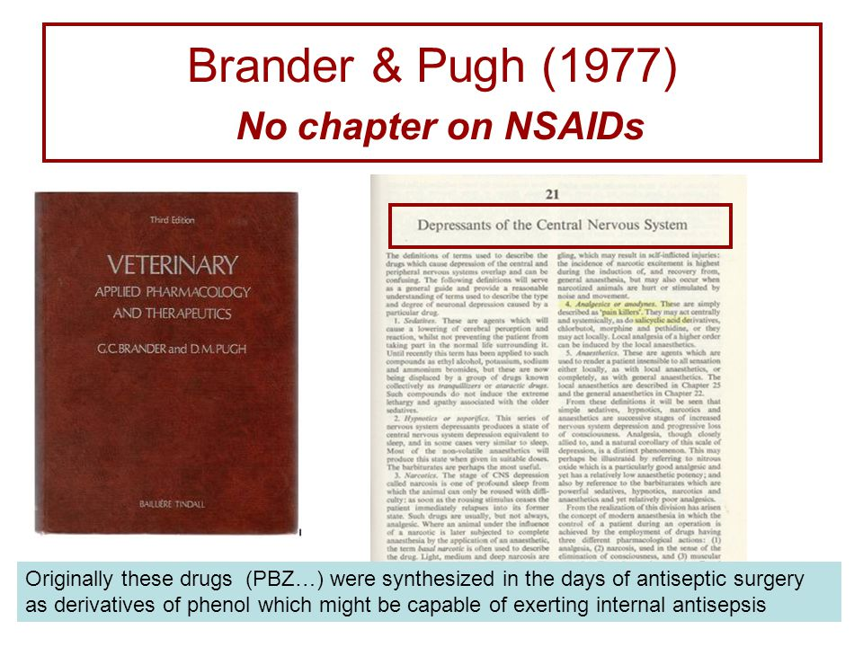 Brander & Pugh (1977) No chapter on NSAIDs Originally these drugs (PBZ…) were synthesized in the days of antiseptic surgery as derivatives of phenol which might be capable of exerting internal antisepsis