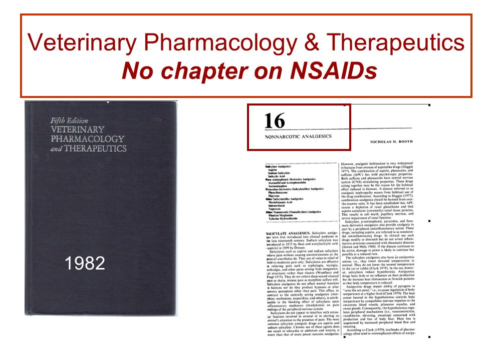 Veterinary Pharmacology & Therapeutics No chapter on NSAIDs 1982