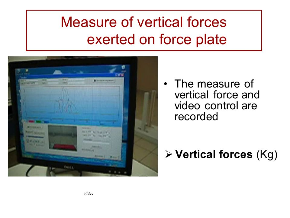 The measure of vertical force and video control are recorded  Vertical forces (Kg) Video Measure of vertical forces exerted on force plate