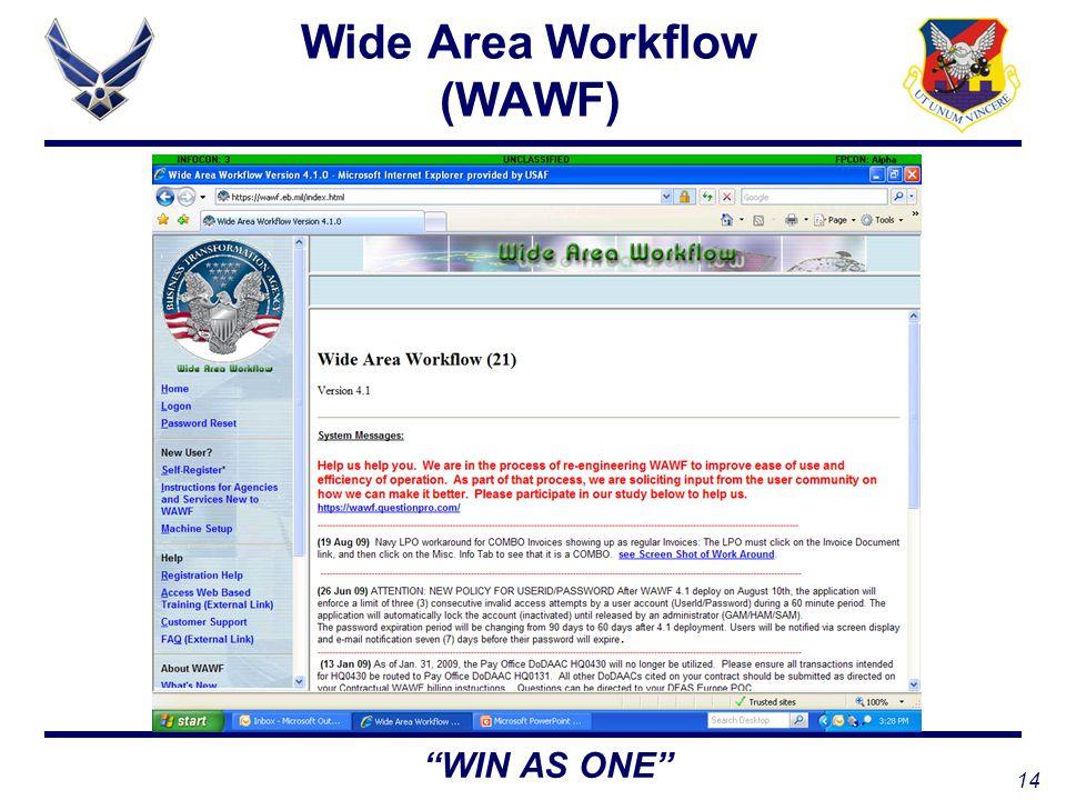 14 WIN AS ONE Wide Area Workflow (WAWF)