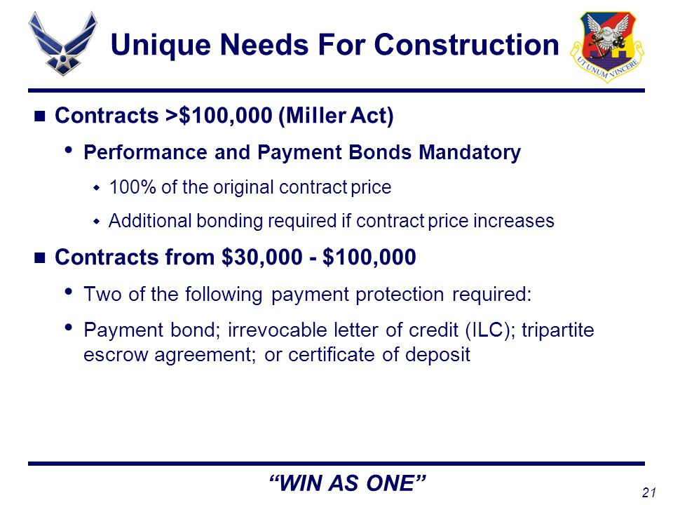 21 WIN AS ONE Unique Needs For Construction Contracts >$100,000 (Miller Act) Performance and Payment Bonds Mandatory  100% of the original contract price  Additional bonding required if contract price increases Contracts from $30,000 - $100,000 Two of the following payment protection required: Payment bond; irrevocable letter of credit (ILC); tripartite escrow agreement; or certificate of deposit