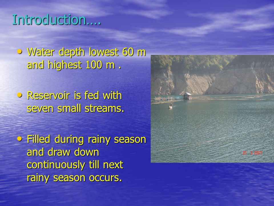 Water depth lowest 60 m and highest 100 m. Water depth lowest 60 m and highest 100 m.