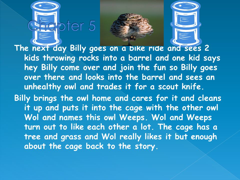 The next day Billy goes on a bike ride and sees 2 kids throwing rocks into a barrel and one kid says hey Billy come over and join the fun so Billy goes over there and looks into the barrel and sees an unhealthy owl and trades it for a scout knife.