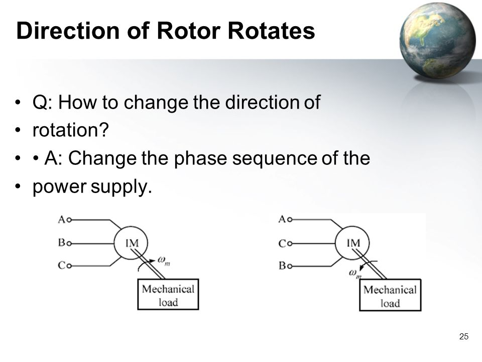 25 Direction of Rotor Rotates Q: How to change the direction of rotation? A: Change the phase sequence of the power supply.