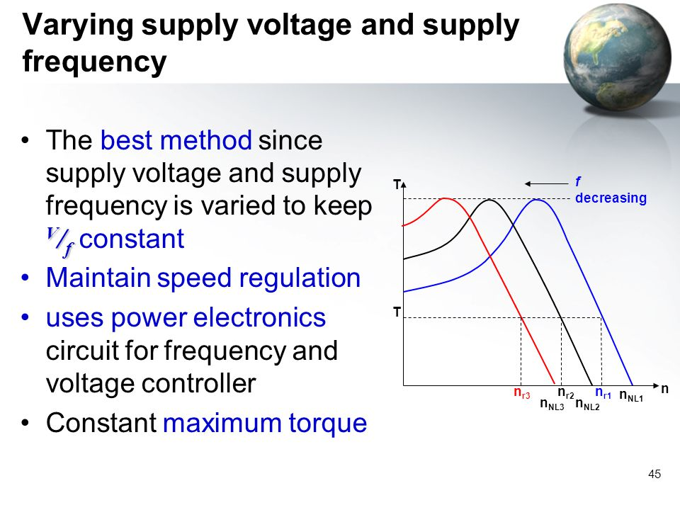 45 V / fThe best method since supply voltage and supply frequency is varied to keep V / f constant Maintain speed regulation uses power electronics ci