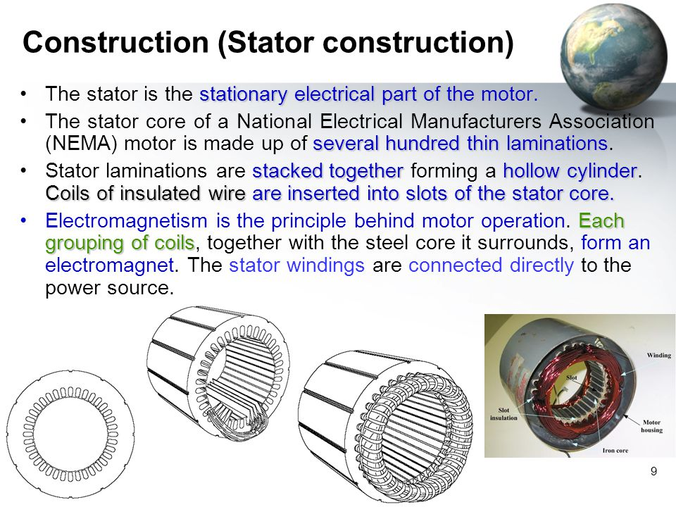 MZS FKEE, UMP 9 Construction (Stator construction) stationary electrical part of the motor.The stator is the stationary electrical part of the motor.