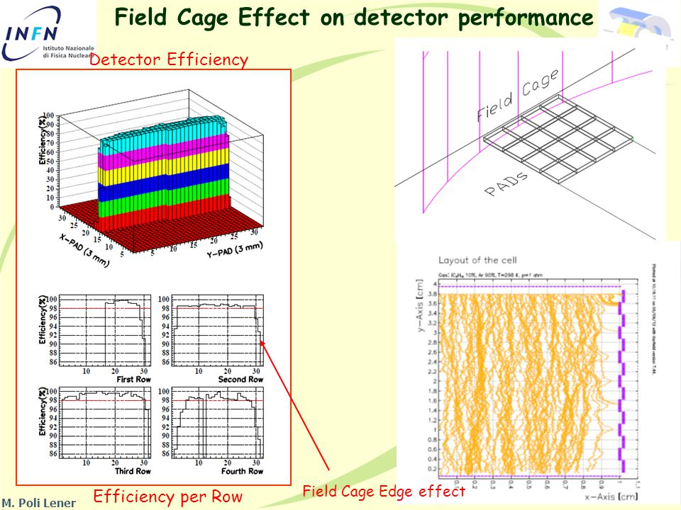 Field Cage Effect on detector performance Detector Efficiency Efficiency per Row Field Cage Edge effect M.