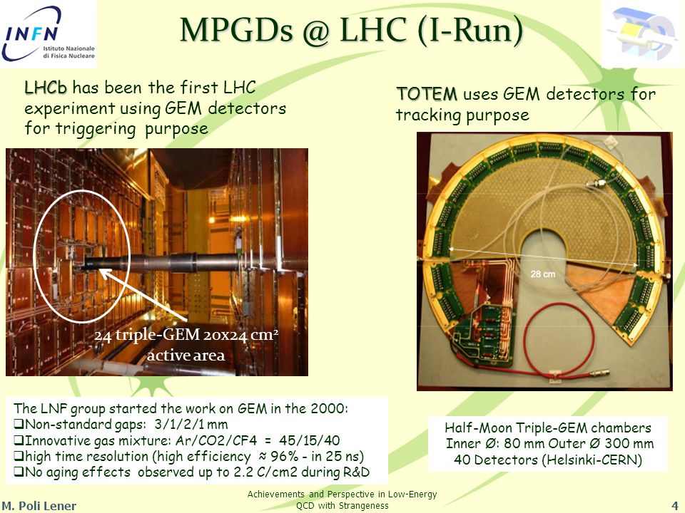M. Poli Lener4 Achievements and Perspective in Low-Energy QCD with Strangeness MPGDs @ LHC (I-Run) LHCb LHCb has been the first LHC experiment using G