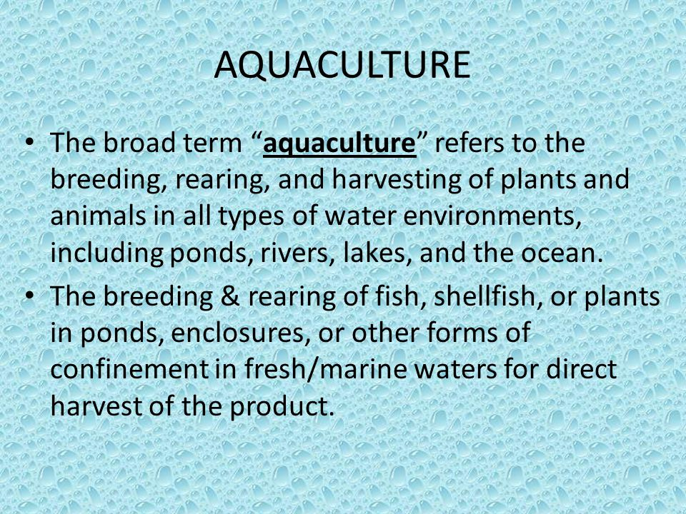 The propagation and rearing of aquatic organisms (both marine and freshwater) in controlled or selected aquatic environments for any commercial, recreational, or public purpose .