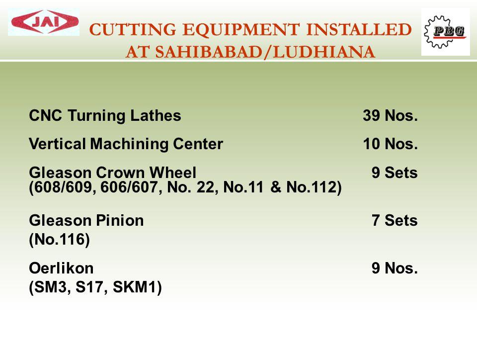 CNC Turning Lathes39 Nos. Vertical Machining Center10 Nos. Gleason Crown Wheel 9 Sets (608/609, 606/607, No. 22, No.11 & No.112) Gleason Pinion 7 Sets