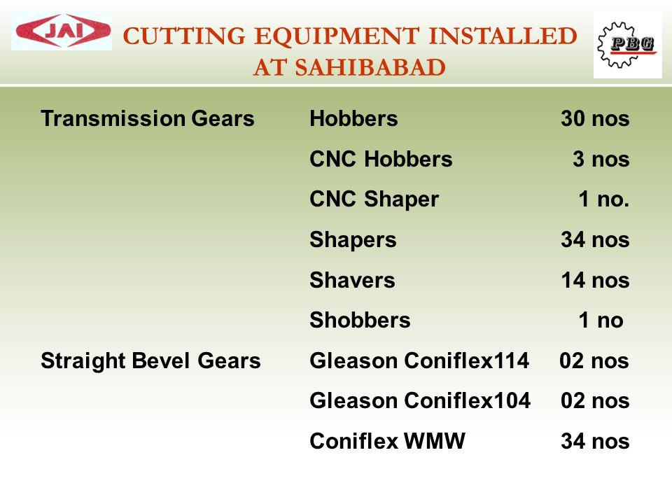 Transmission GearsHobbers 30 nos CNC Hobbers 3 nos CNC Shaper1 no. Shapers 34 nos Shavers 14 nos Shobbers1 no Straight Bevel GearsGleason Coniflex114