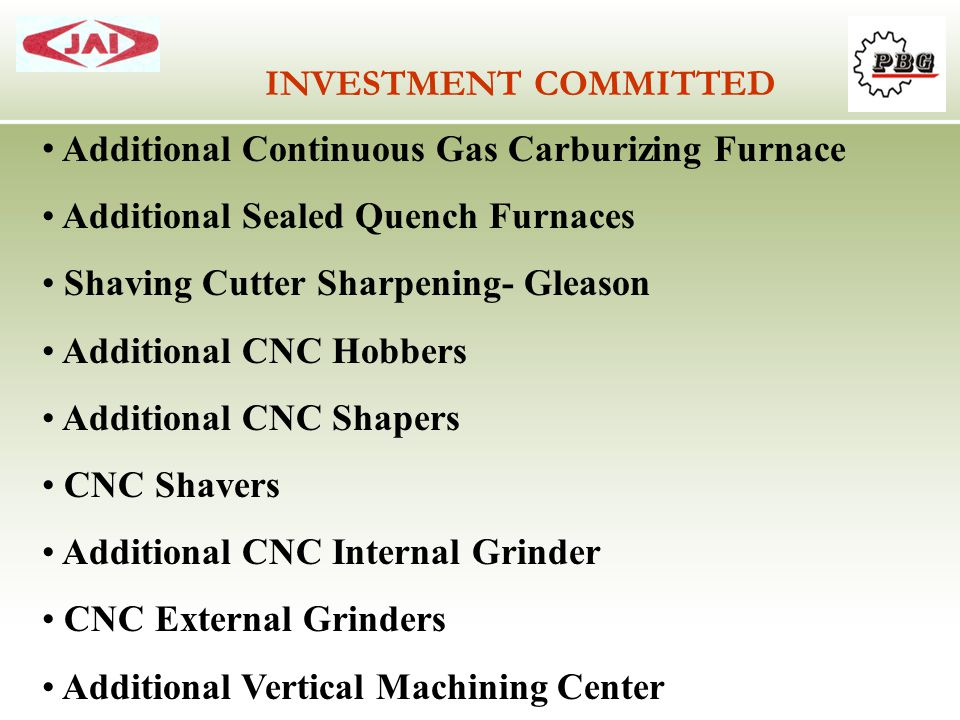 Additional Continuous Gas Carburizing Furnace Additional Sealed Quench Furnaces Shaving Cutter Sharpening- Gleason Additional CNC Hobbers Additional C