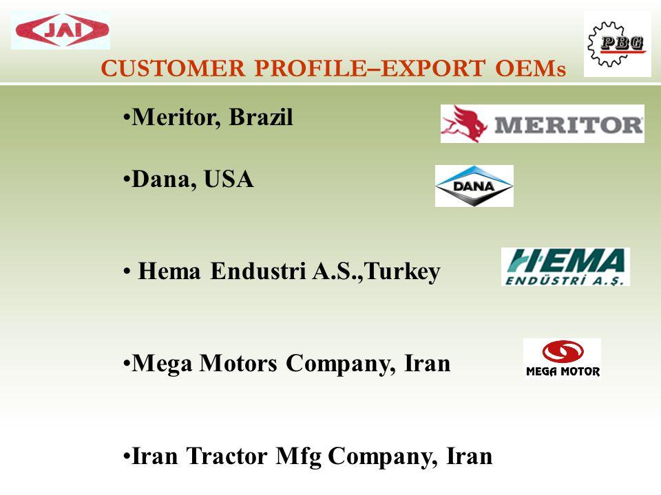 CUSTOMER PROFILE–EXPORT OEMs Meritor, Brazil Dana, USA Hema Endustri A.S.,Turkey Mega Motors Company, Iran Iran Tractor Mfg Company, Iran