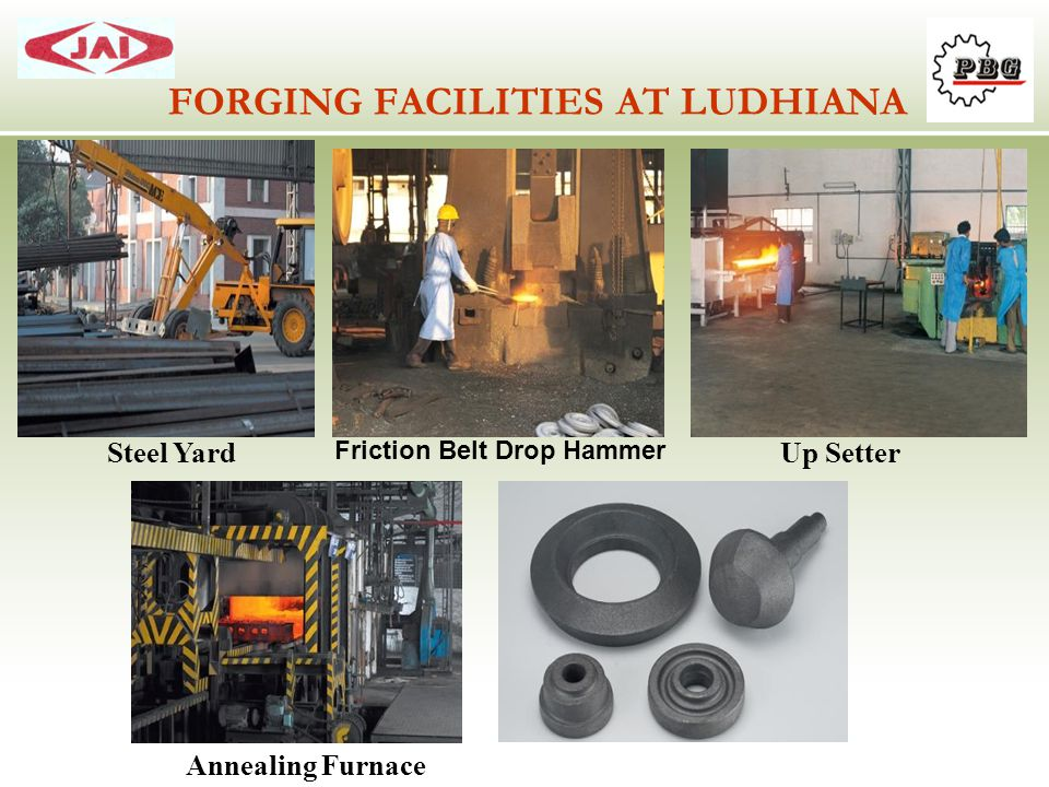 FORGING FACILITIES AT LUDHIANA Steel Yard Annealing Furnace Friction Belt Drop Hammer Up Setter