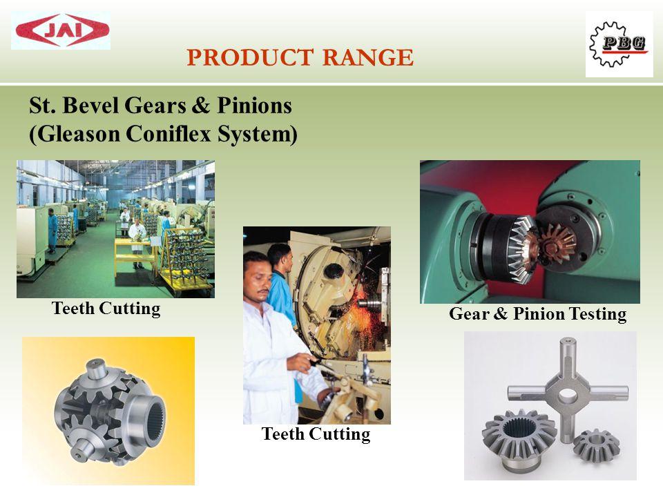 PRODUCT RANGE St. Bevel Gears & Pinions (Gleason Coniflex System) Teeth Cutting Gear & Pinion Testing