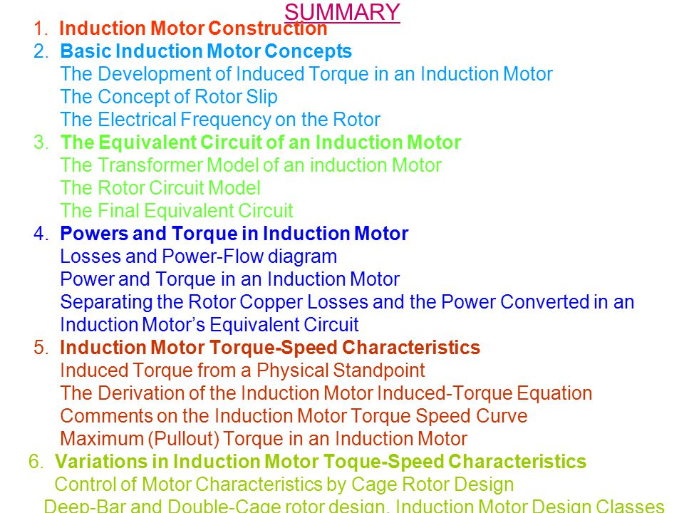 SUMMARY 1.Induction Motor Construction 2.