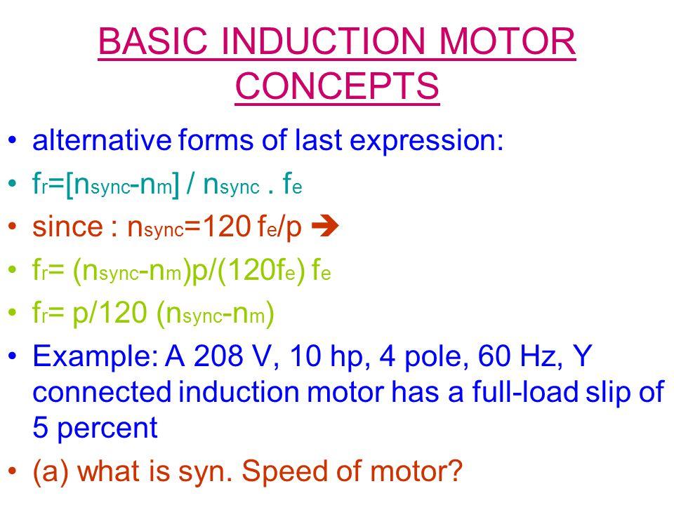 BASIC INDUCTION MOTOR CONCEPTS alternative forms of last expression: f r =[n sync -n m ] / n sync. f e since : n sync =120 f e /p  f r = (n sync -n m
