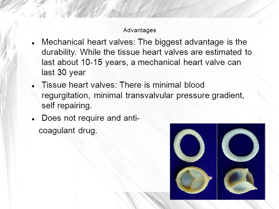 Advantages Mechanical heart valves: The biggest advantage is the durability.