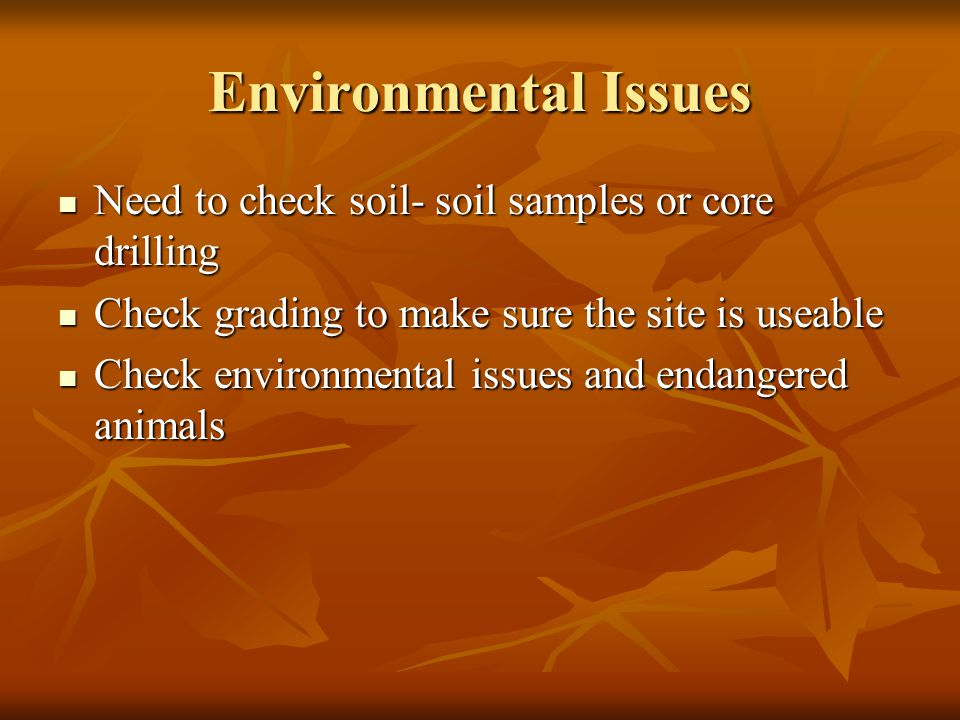 Environmental Issues Need to check soil- soil samples or core drilling Need to check soil- soil samples or core drilling Check grading to make sure the site is useable Check grading to make sure the site is useable Check environmental issues and endangered animals Check environmental issues and endangered animals