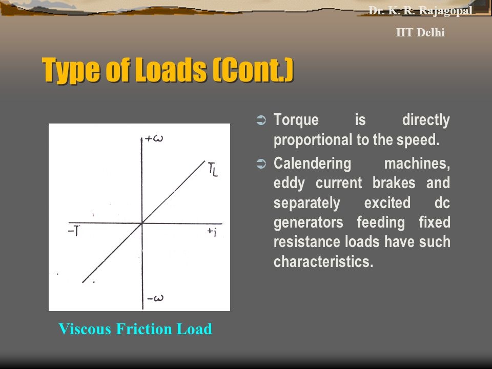 Type of Loads (Cont.) Viscous Friction Load Dr. K. R. Rajagopal IIT Delhi  Torque is directly proportional to the speed.  Calendering machines, eddy