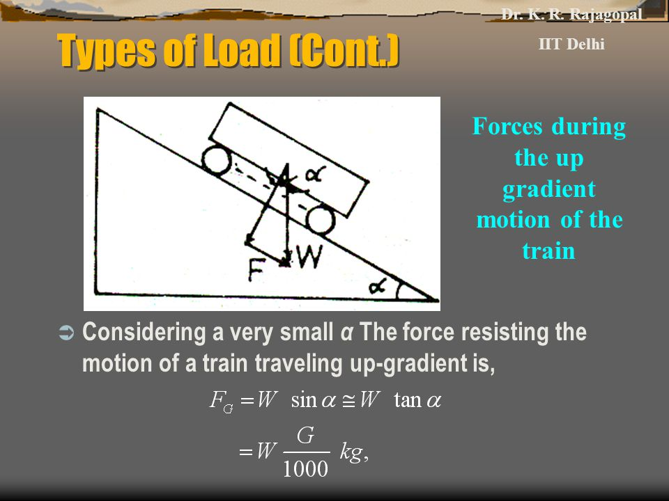 Types of Load (Cont.)  Considering a very small α The force resisting the motion of a train traveling up-gradient is, Forces during the up gradient motion of the train Dr.
