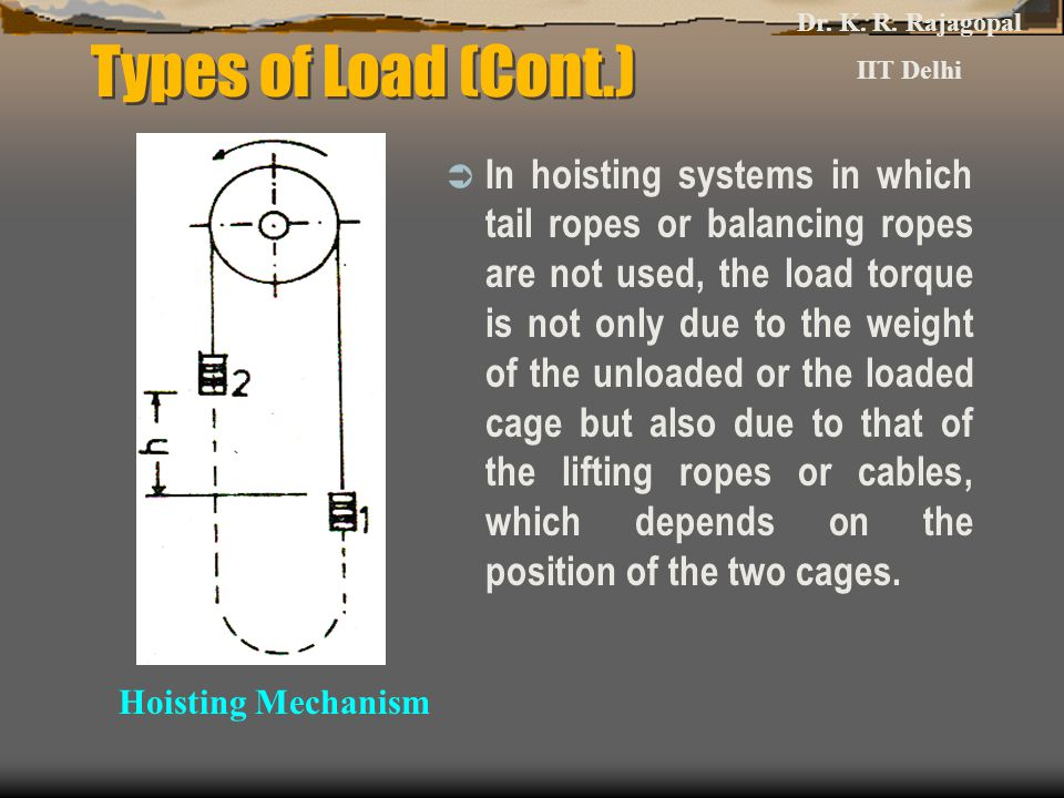 Types of Load (Cont.)  In hoisting systems in which tail ropes or balancing ropes are not used, the load torque is not only due to the weight of the unloaded or the loaded cage but also due to that of the lifting ropes or cables, which depends on the position of the two cages.