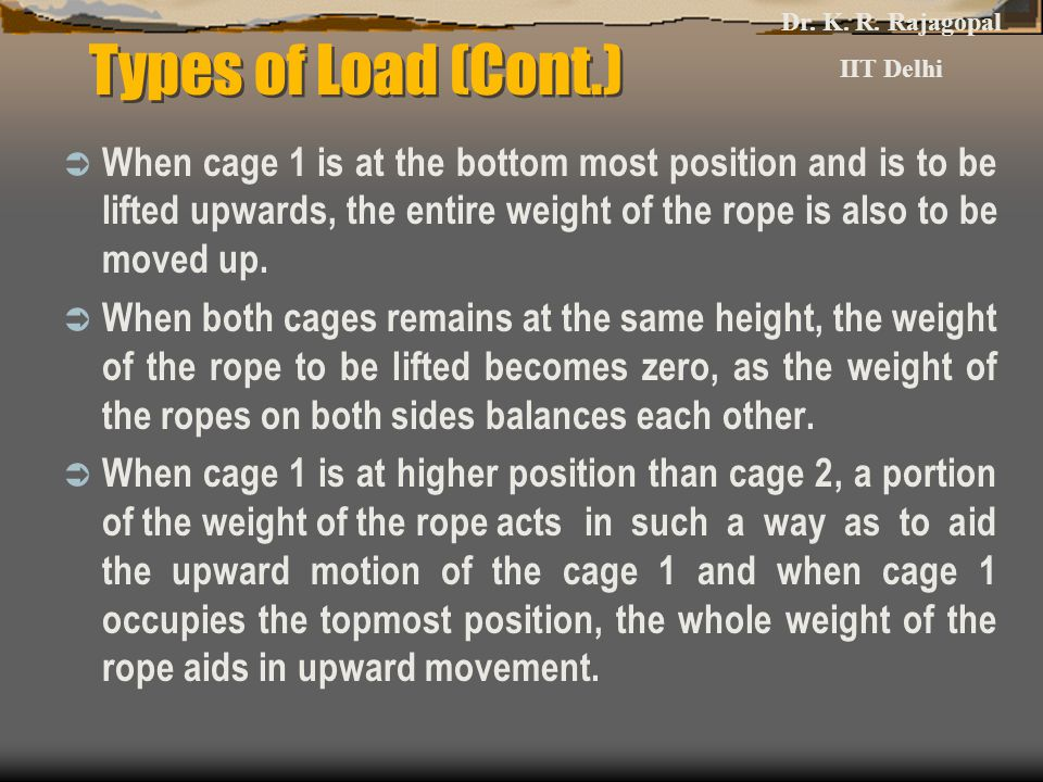 Types of Load (Cont.)  When cage 1 is at the bottom most position and is to be lifted upwards, the entire weight of the rope is also to be moved up.