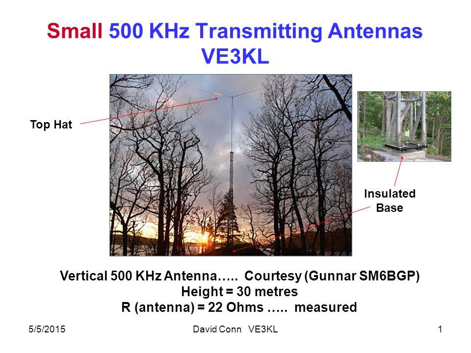 Small 500 KHz Transmitting Antennas VE3KL 5/5/2015David Conn VE3KL1 Vertical 500 KHz Antenna…..