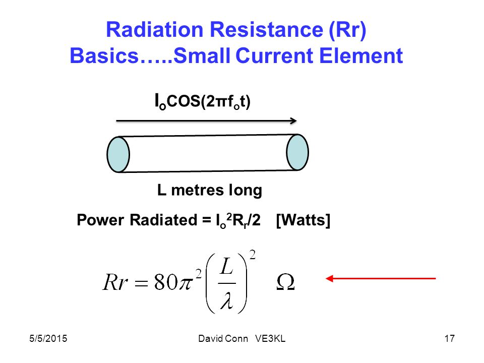 Radiation Resistance (Rr) Basics…..Small Current Element 5/5/2015David Conn VE3KL17 I o COS(2πf o t) L metres long Power Radiated = I o 2 R r /2 [Watts]