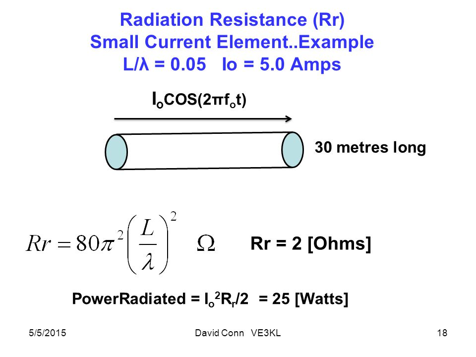Radiation Resistance (Rr) Small Current Element..Example L/λ = 0.05 Io = 5.0 Amps 5/5/2015David Conn VE3KL18 I o COS(2πf o t) 30 metres long PowerRadiated = I o 2 R r /2 = 25 [Watts] Rr = 2 [Ohms]