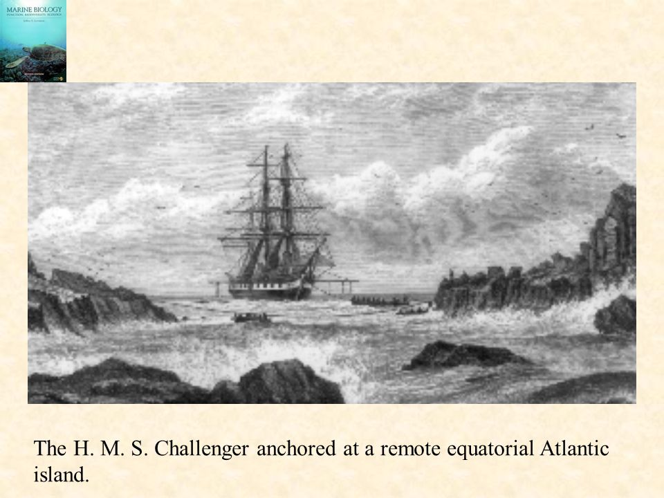The H. M. S. Challenger anchored at a remote equatorial Atlantic island.