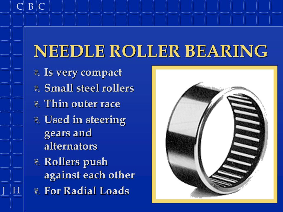 J H C B C NEEDLE ROLLER BEARING B Is very compact B Small steel rollers B Thin outer race B Used in steering gears and alternators B Rollers push agai